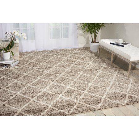 nourison brisbane machine-made diamond shag rug, gray | shag rugs