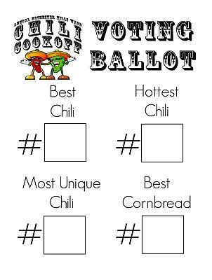 Chili Cook Off Voting Ballot