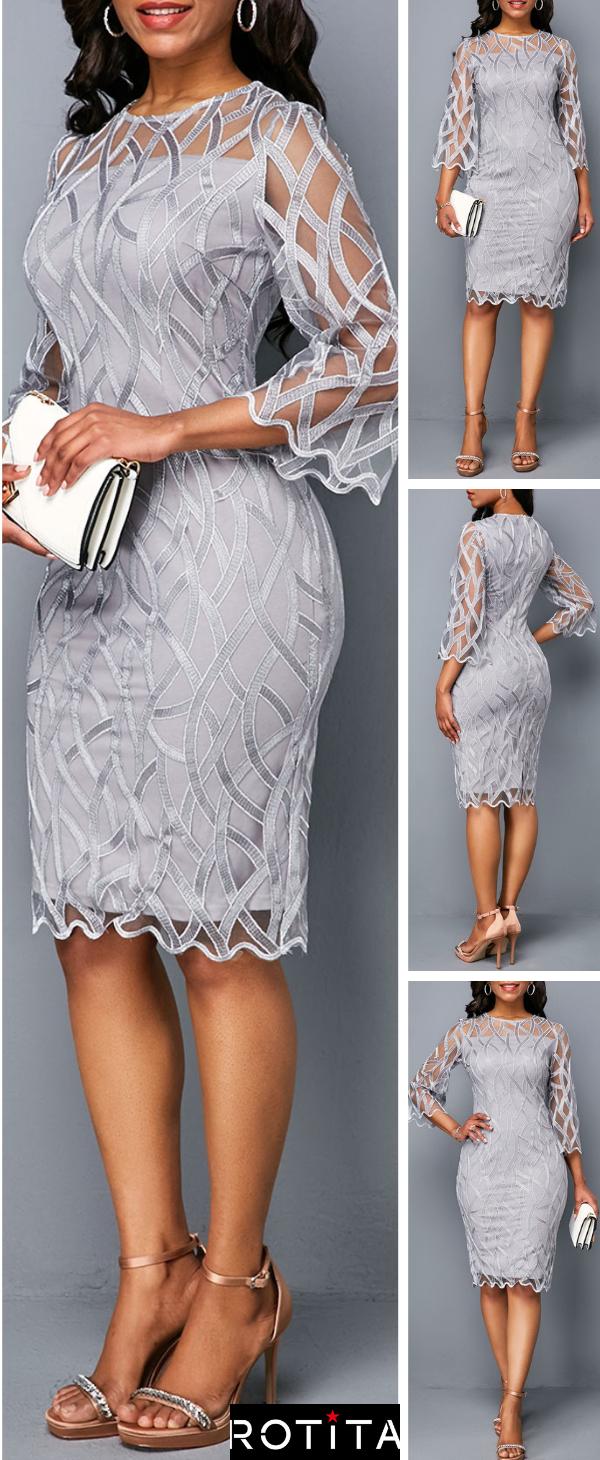 Three Quarter Sleeve Round Neck Light Grey Dress  Damenmode