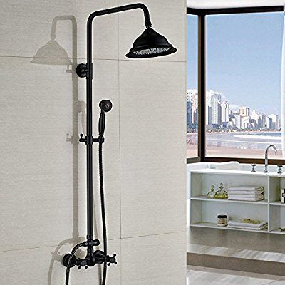 Votamuta Black Color Bathroom Rainfall Shower Faucet Set Rain Shower ...