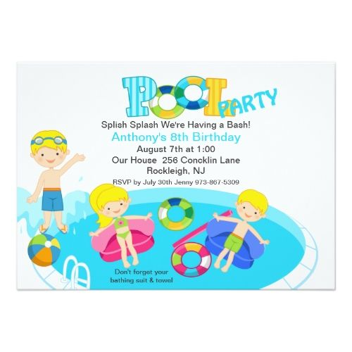 Pool Party Invitations Blue Kids Pool Party Birthday Invitation - birthday invitation pool party