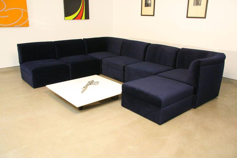 Pleasant Modular Sectional Sofa In Blue Mohair By Milo Baughman Tv Ibusinesslaw Wood Chair Design Ideas Ibusinesslaworg