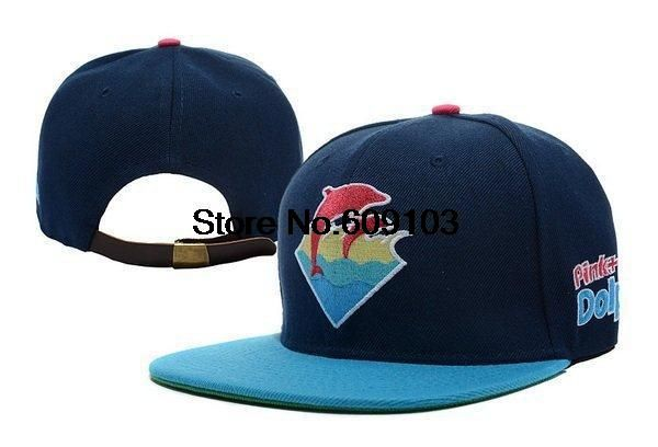ce2e91944aa Cheap men s Pink Dolphin Waves Strapback in Asphalt navy blue wholseale  online store  9.99