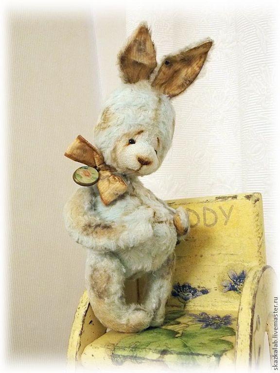 Купить Кас - мятный, зайка тедди, заяц, винтажный заяц, старый заяц, вискоза, опилки