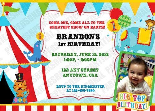 Fisher Price 1st Birthday Circus Personalized Invitation- Digital ...