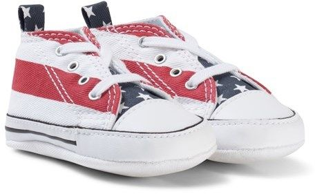 71cd50a114e8 Converse Stars and Stripes Chuck Taylor First Star Crib Trainers