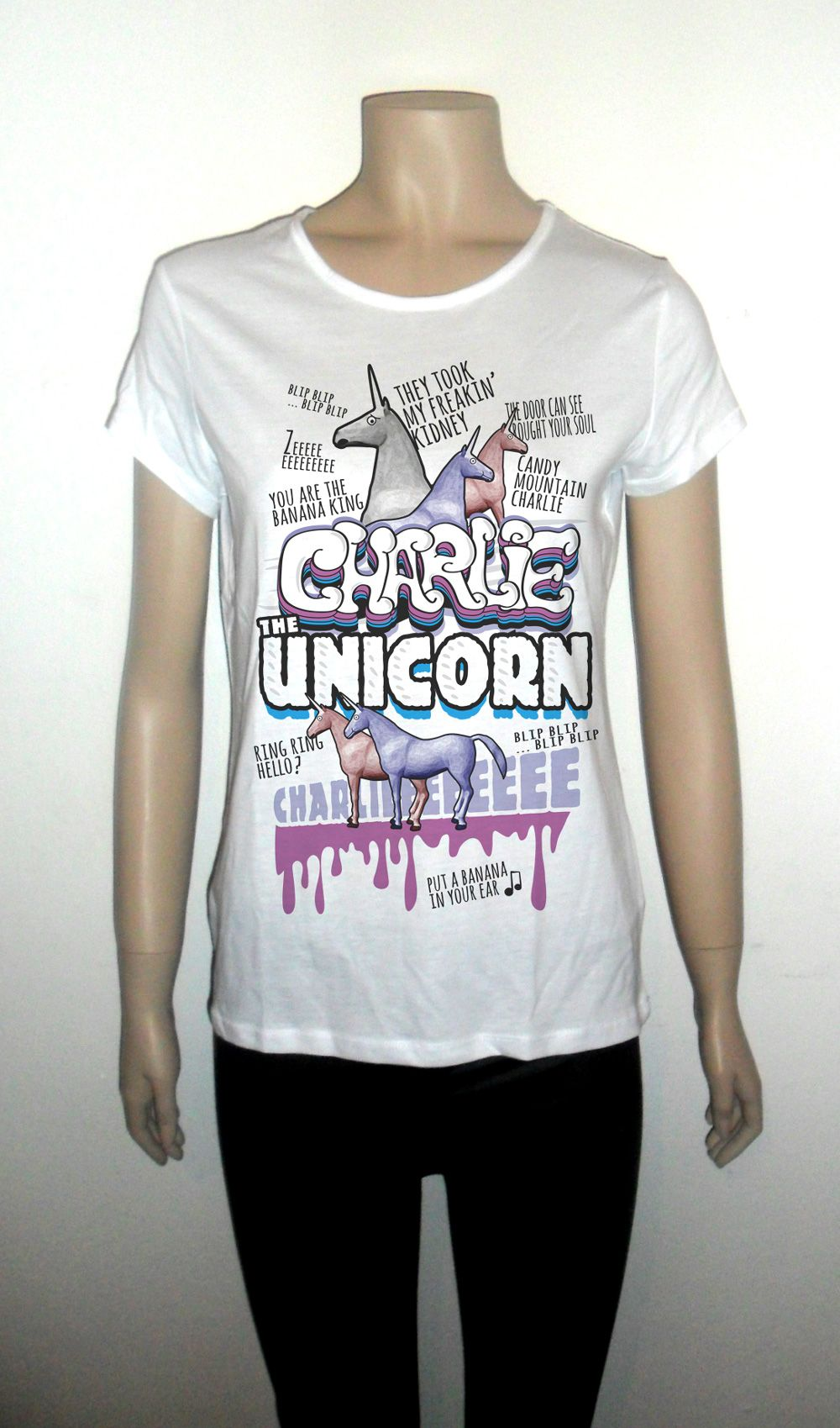 e590a5f5 Charlie the unicorn white tshirt for women humor | Products I Love ...