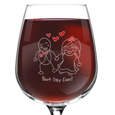 Best Day Ever! Wedding 12.75 Oz. All Purpose Wine Glass