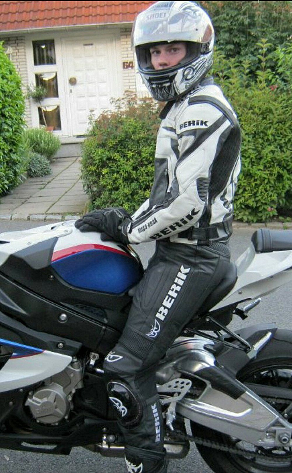 On Guys and Bikes Black leather motorcycle jacket