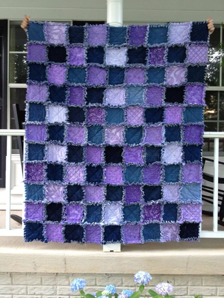 Purple And Denim Rag Quilt Quilts Made By Connie Denim