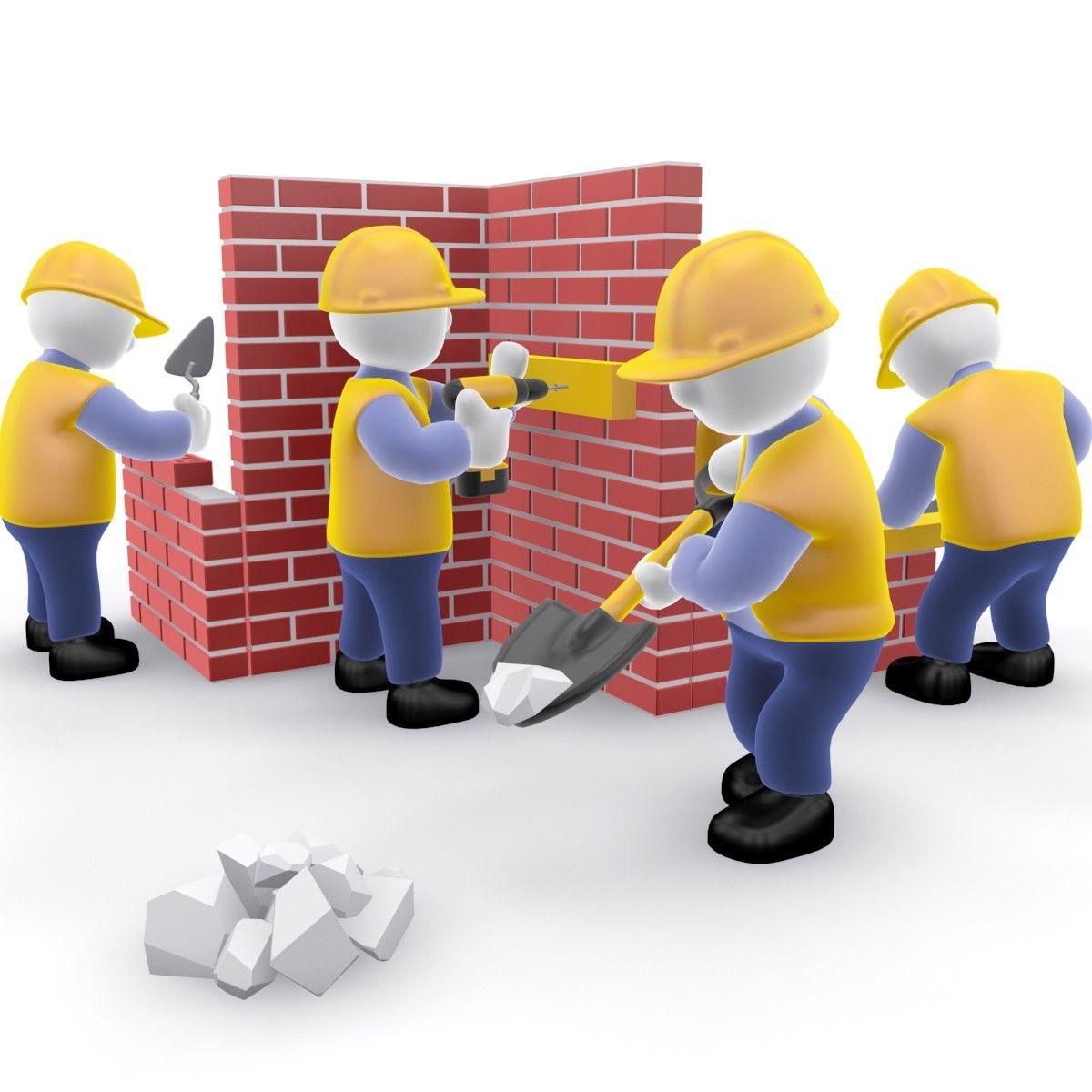Construction team cartoon 3d model for Construction 3d