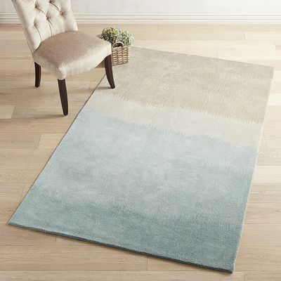 Our Hand Tufted Wool, Rug Anchors Your Room With Ombre Shadesu2014from Blue To  Sand.