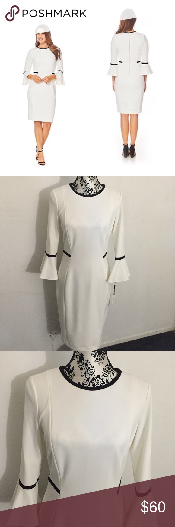 c4448160 🆕Calvin Klein Two Tone Bell Sleeve Dress White dress with black piping,  3/4 bell sleeves. Soft stretch fabric with piped detailing, round neck, ...