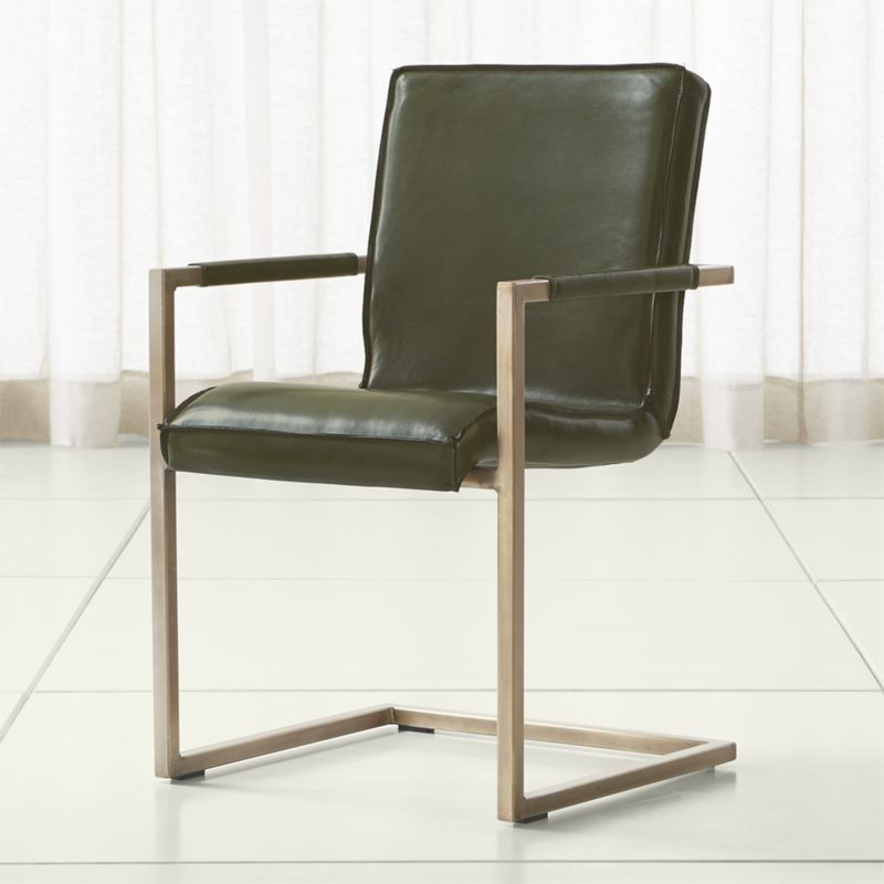Hudson Green Leather Dining Chair | Crate And Barrel