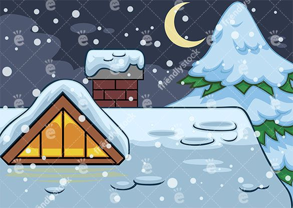 House Roof Covered In Snow Background Cartoon Vector Friendlystock Christmas Night Roof Covering Christmas Vectors