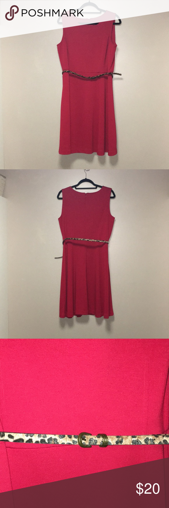 212 Collection Dress Red With Leopard Print Belt Guc 212 Collection Dress Red With Leopard Print Belt Great For Busine Dress Collection Red Dress Dresses
