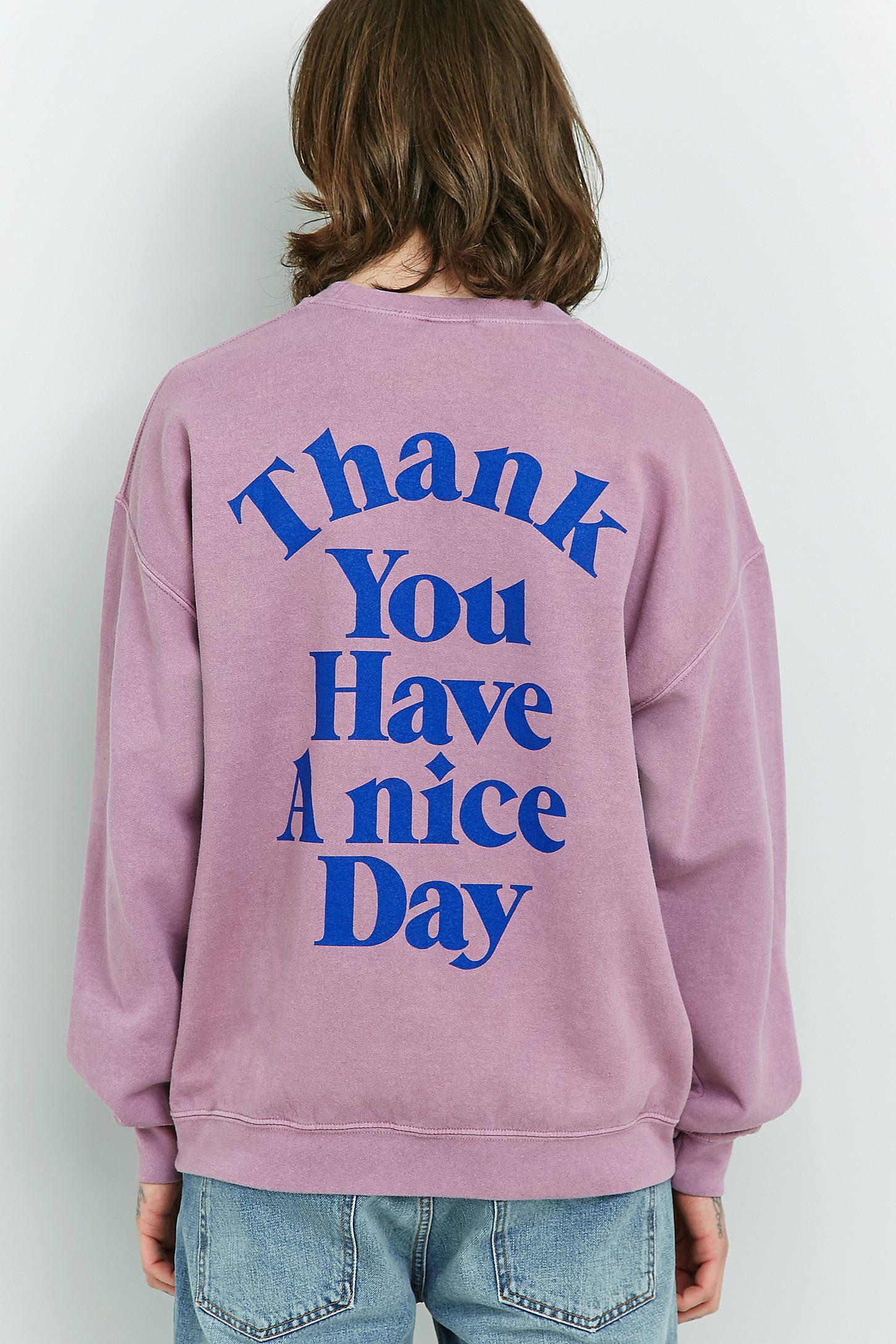 2c5bd2bc363 Slide View  2  UO Have A Nice Day Pink Overdye Crewneck Sweatshirt