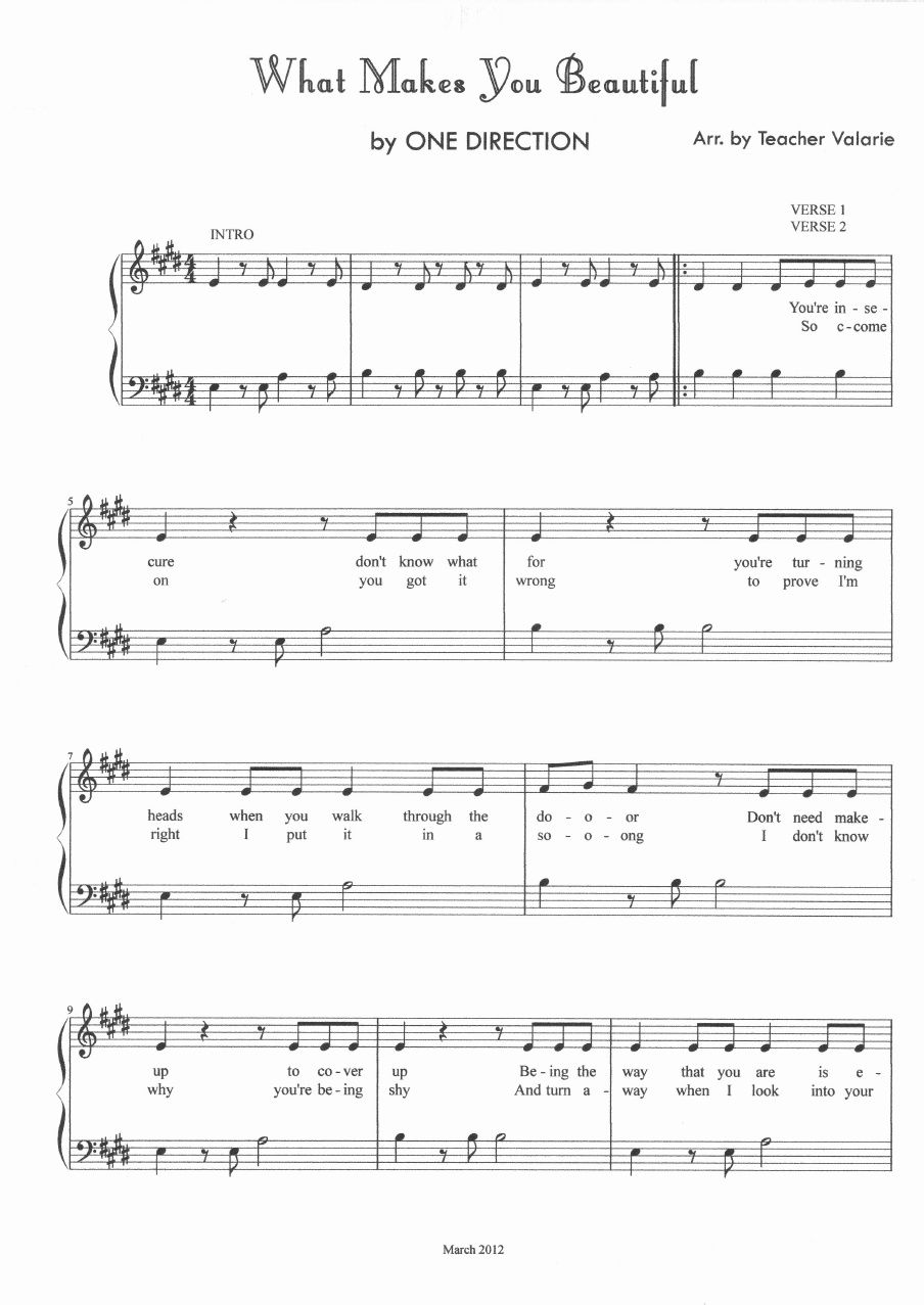 What Makes You Beautiful One Direction Piano Sheet Music Score
