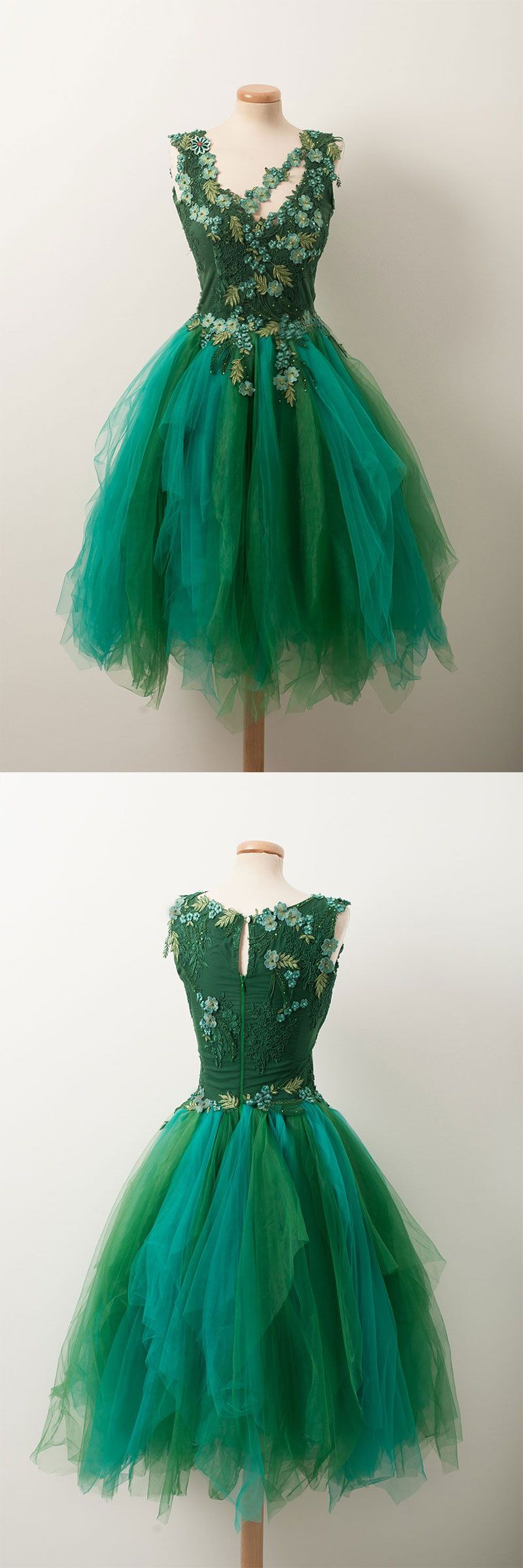 Unique v neck green tulle lace short prom dress green homecoming