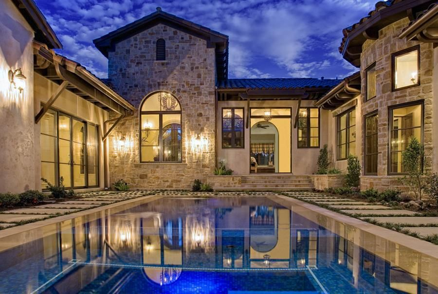 20 Ideas For Stunning U Shaped House Design Courtyard House Plans Pool House Plans Mediterranean Style House Plans