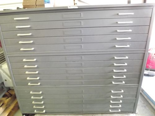 Vintage Industrial Hamilton 15 Drawer Steel Flat File Cabinet Drafting Architect Beauty Room Home Diy Storage