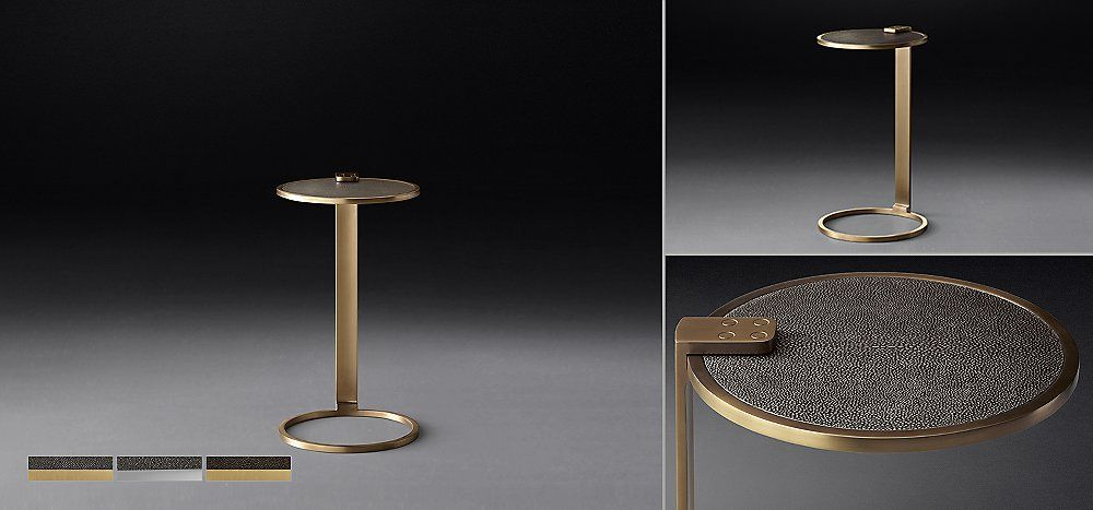 Franz shagreen round cocktail side table collection