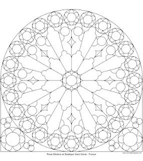 Rose Window At St Denis To Color Coloring Pages Pinterest
