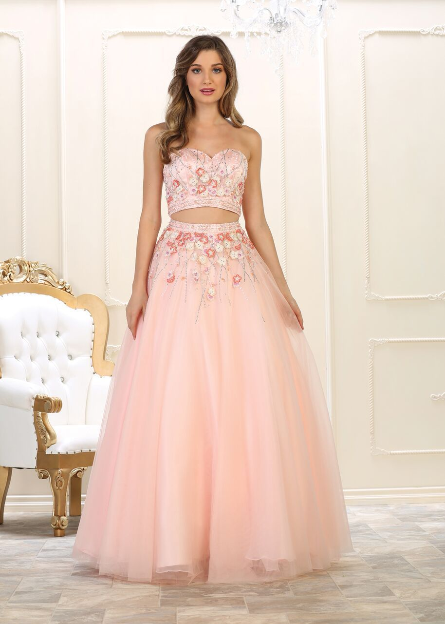 64b784ddbf2 Long Prom Dress Two Piece Set Gown Formal