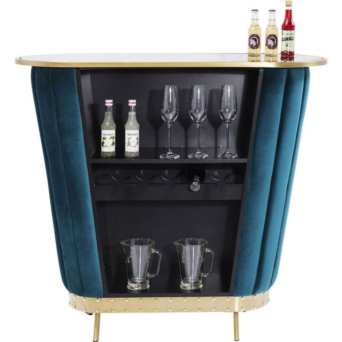 Bar After Work Velours Bleu Meuble Bar Kare Design Et Design Bleu