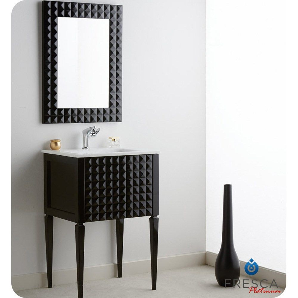 24 inch black bathroom vanity with sink. Diamond 24 Inch Glossy Black Modern Bathroom Vanity  Integrated Sink Style Solid Wood Frame MDF Panels Glass Stone Countertop With Overflow 303 E 57