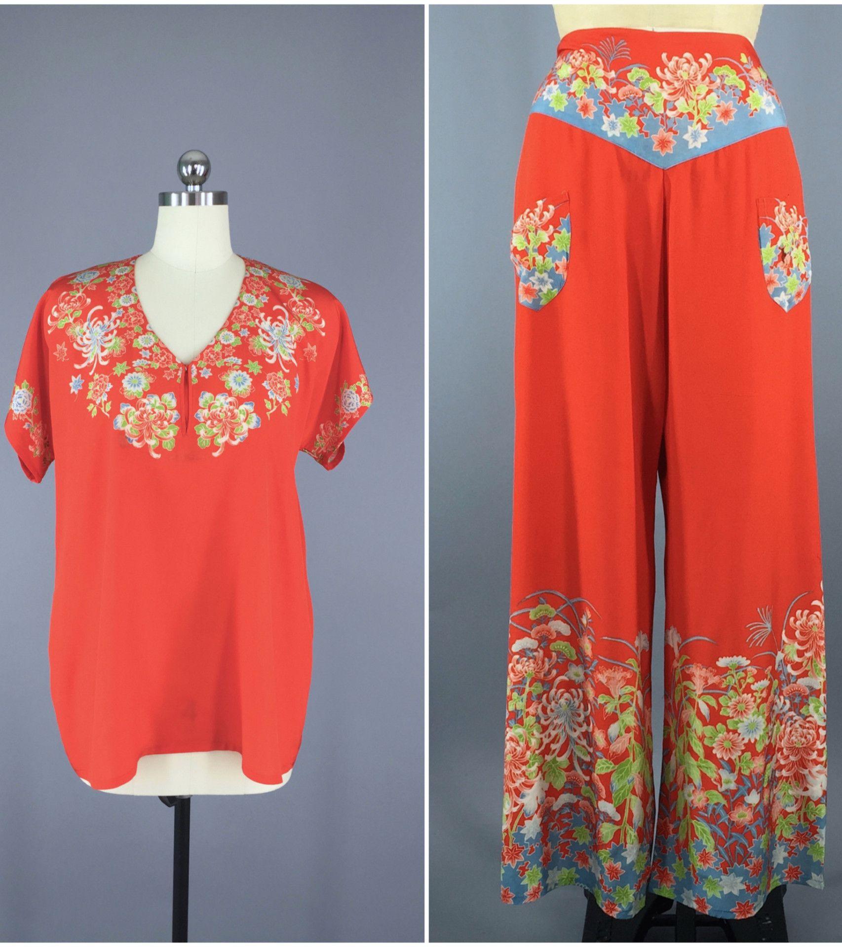 Vintage 1920s 1930s Silk Pajamas Pjs Loungewear   Flapper 20s 30s Lingerie  Boudoir   Chinoiserie Chinese Asian b93390cc4
