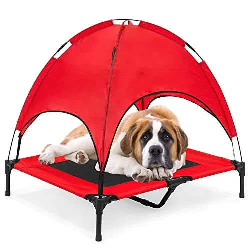 Reliancer Large 36 Elevated Dog Cot With Canopy Shade Best Petsep Com Dog Cots Outdoor Pet Bed Pets