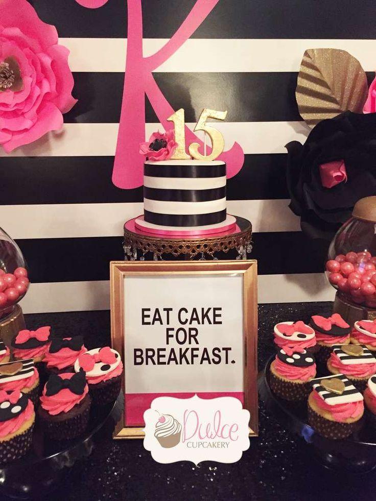 Kate Spade birthday party dessert table Kate