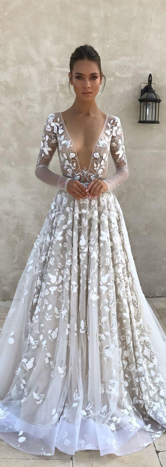 Sheer long sleeve wedding dress  Stunning Luxury Sexy Tulle Wedding Dresses Sexy Deep V Neck Sheer