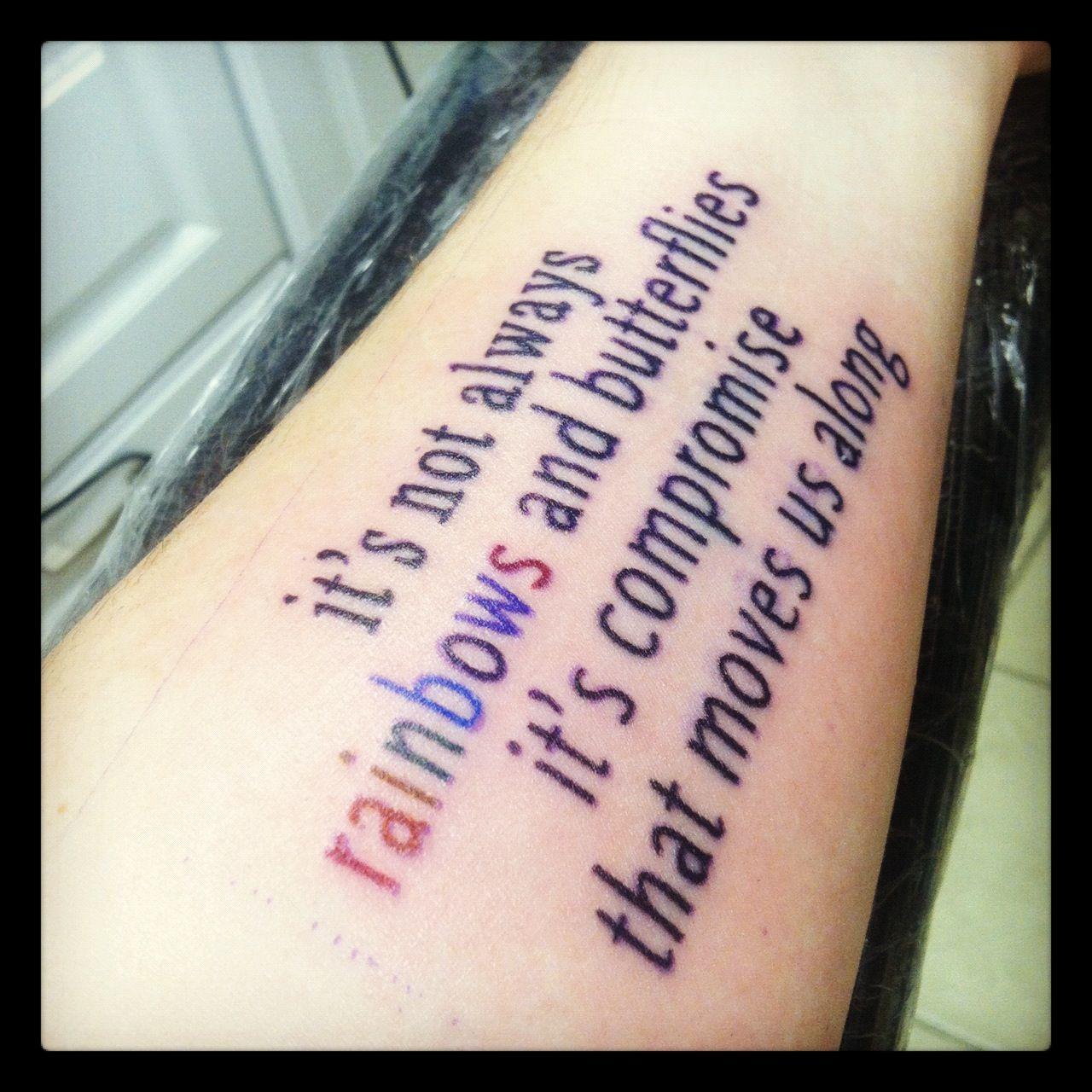 My new tattoo. Maroon 5 song lyrics. ) Song lyric