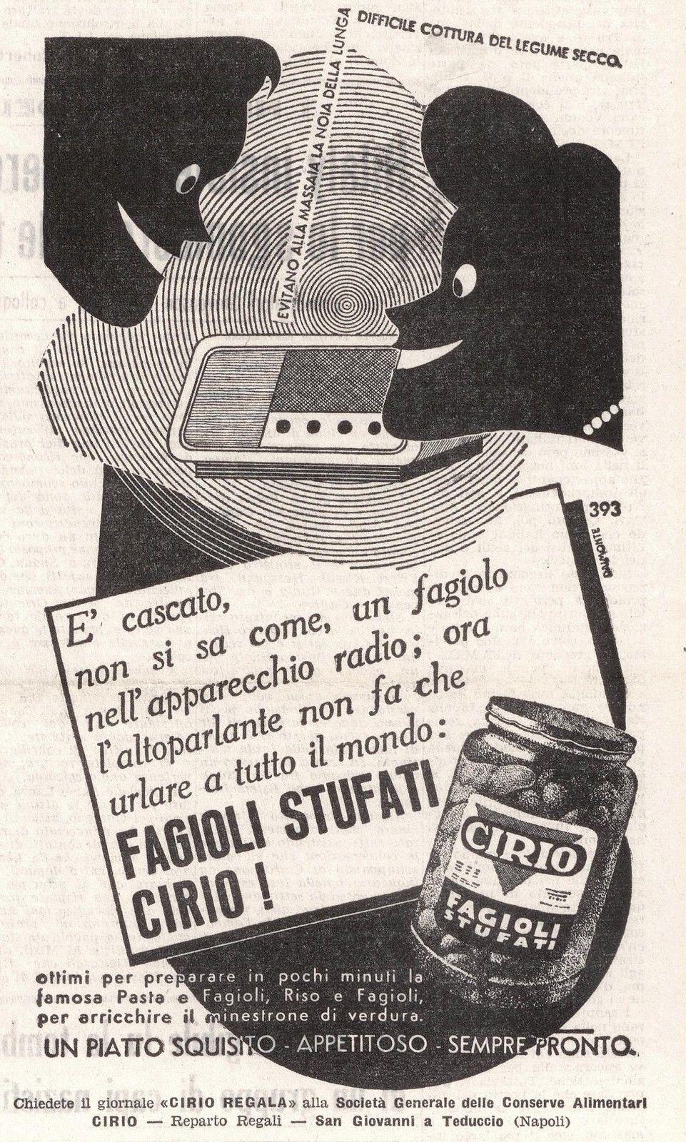 Pubblicità originale Anni 50 FAGIOLI CIRIO advertising