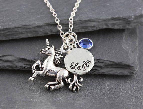 dbaee8c45be69 Unicorn necklace, personalized jewelry, name necklace, swarovski ...