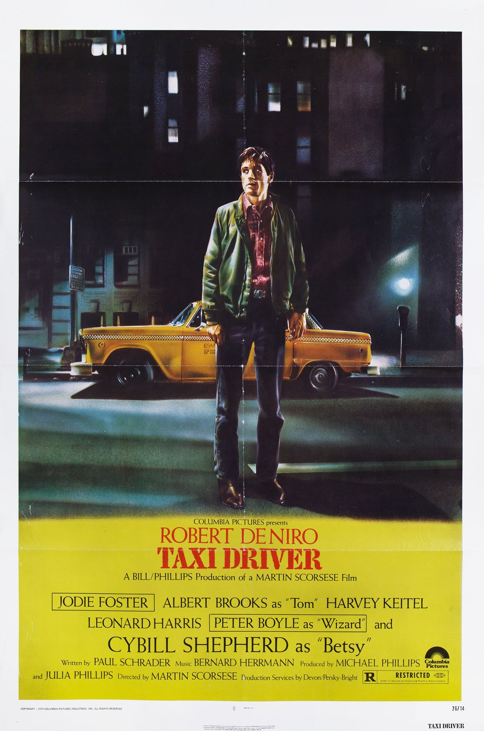 Taxi Driver 1976 U S One Sheet Poster Posteritati Movie Poster Gallery New York Big Yellow Taxi Taxi Driver Martin Scorsese