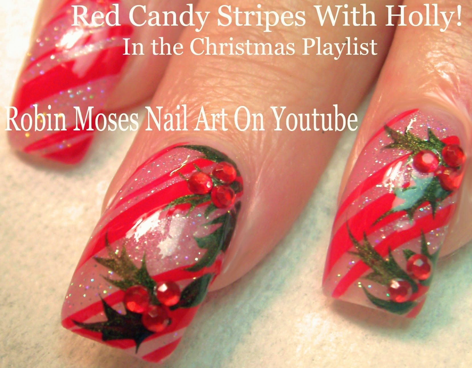 Candy Cane Stripes and Holly with Blinged Berries! #nailart #nails ...