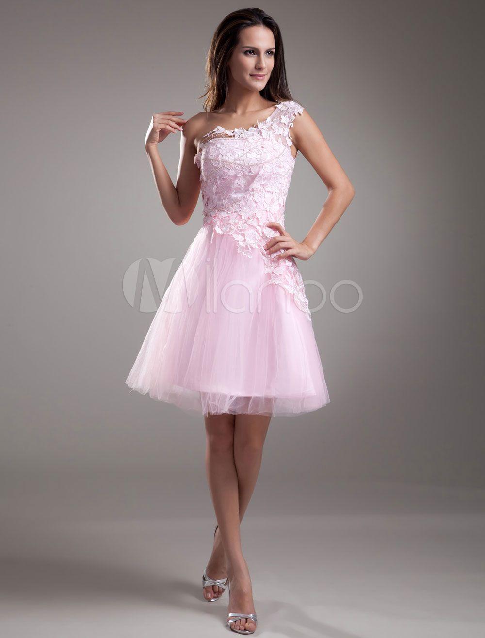 Dentelle robe de Cocktail Prom courte une épaule robe rose Tulle ...