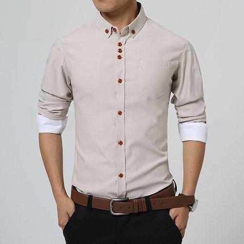 29d340c64ea urban Fashion Style Solid Pattern Formal Shirt For Men.  MenShirt   MehdiGinger