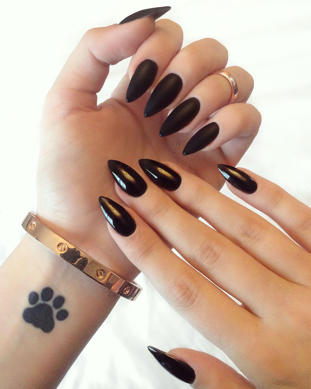 Glossy And Matte Black Stiletto Nails Black Stiletto Nails Stiletto Nails Short Trendy Nails