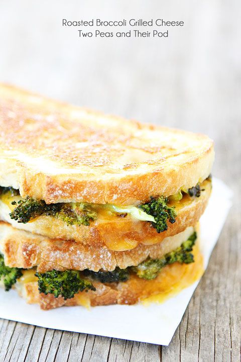 Roasted Broccoli Grilled Cheese Recipe on twopeasandtheirpod.com