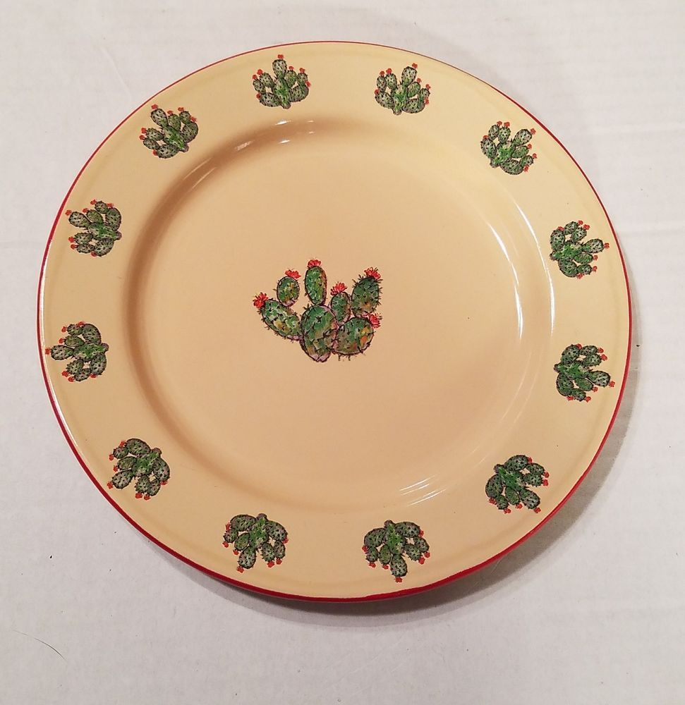 Marble Canyon Western Ware Enamelware Plates One 8 Cactus Red Rimmed Cowboy Tan Marblecanyon Plates Enamelware Marble Canyon
