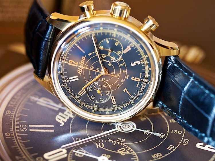 The Alpina 130 Chronograph marking Alpina's 130 years of watchmaking. Swiss Made. Swiss Legend.