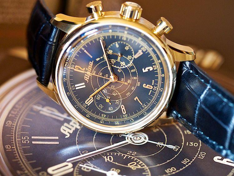 The Alpina 130 Chronograph marking Alpina's 130 years of watchmaking. Swiss Made. Swiss Legend.