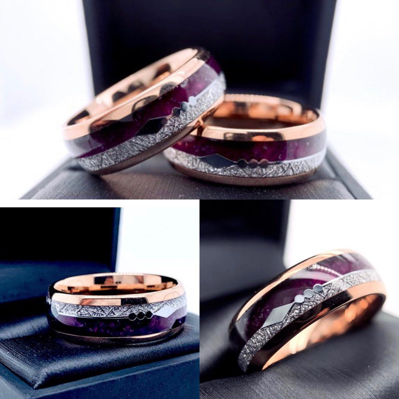 Matching Rings Set Purple Agate and Meteorite Ring Mens