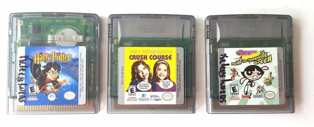 3 Gameboy Color Games Lot Gbc Gba Sp Crush Course Harry Potter