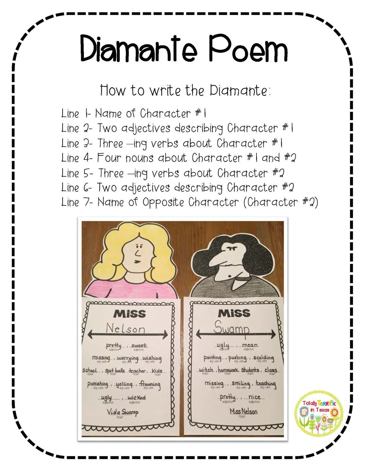 Diamante Poem Worksheet
