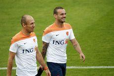 Arjen Robben (l) samen met Wesley Sneijder.